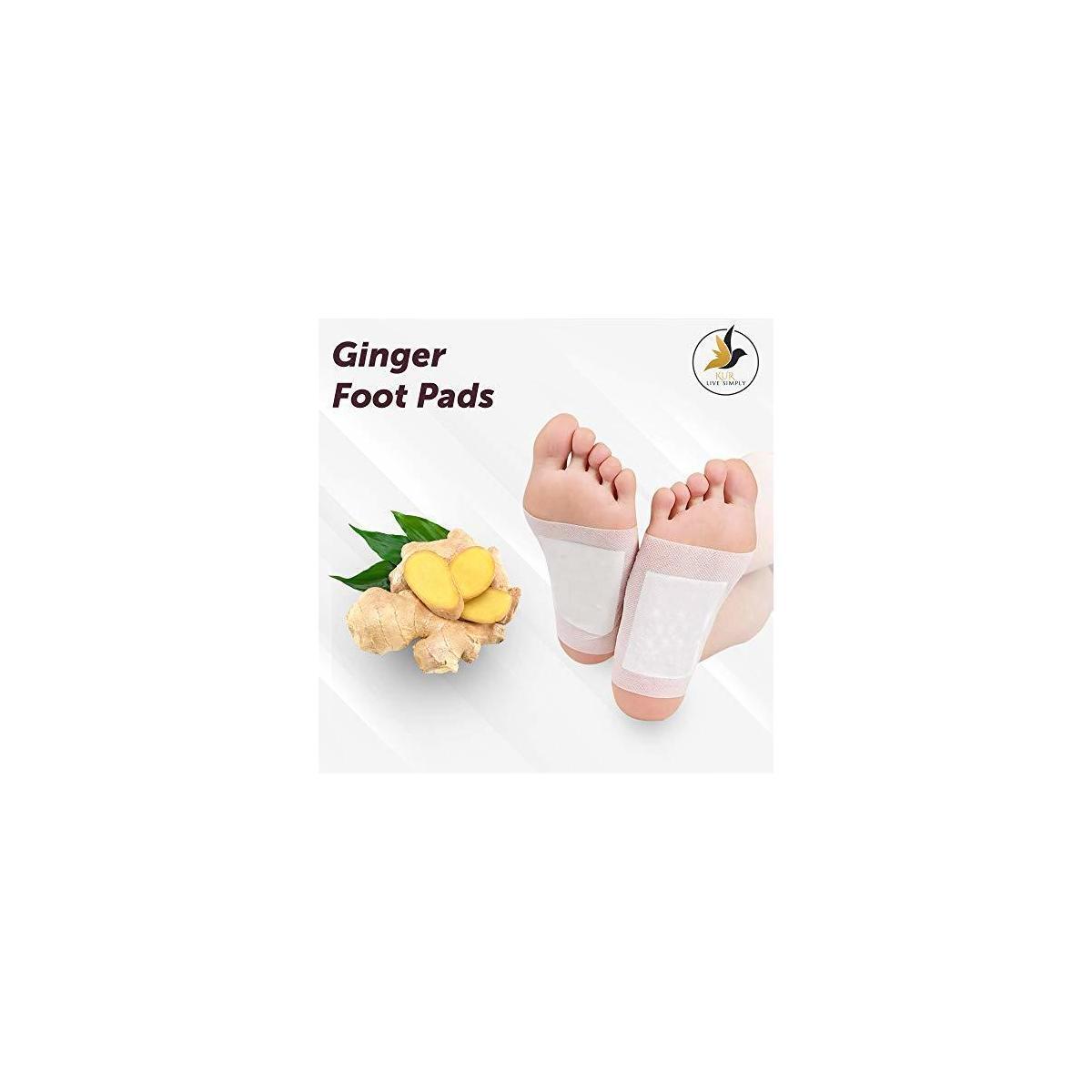 Ginger Foot Pads 20 PCS + Bonus Ginger Bath Soak Tablets 2 PCS   Ginger Foot Patch   Sleeping Pad   Better Sleep Patch   Pure Natural Ginger Powder and Bamboo Vinegar Premium Ingredients Feet Pads