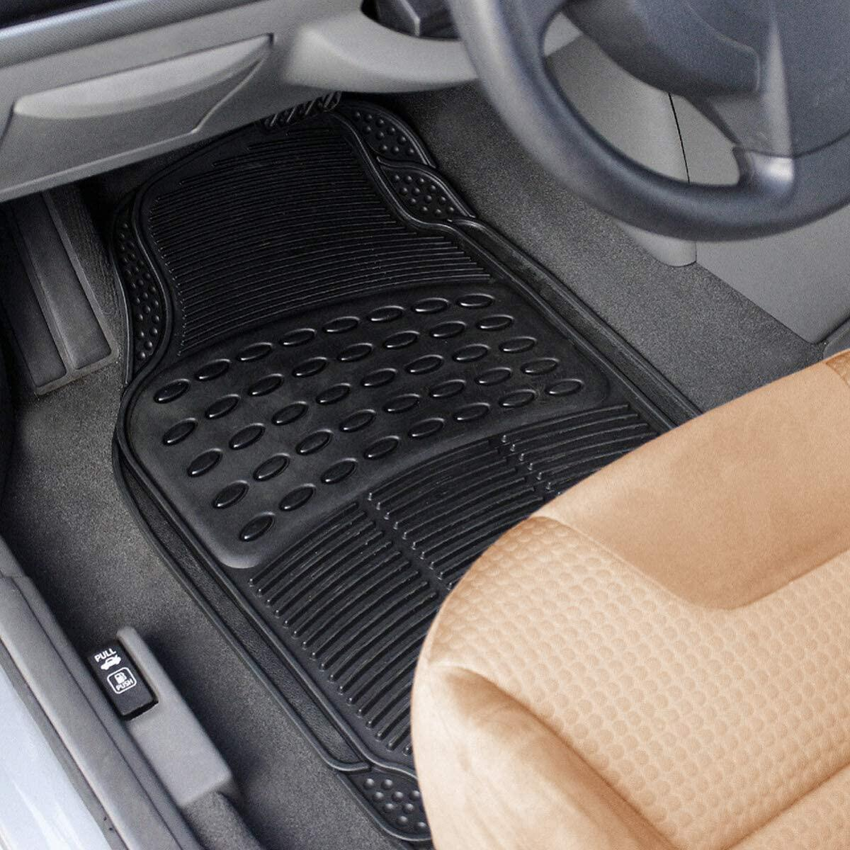 VaygWay Car SUV Floor Mat – 4 Piece Heavy Duty Set – 3 Row Vehicle All Weather – Black Trimmable Rubber Floor Mats…