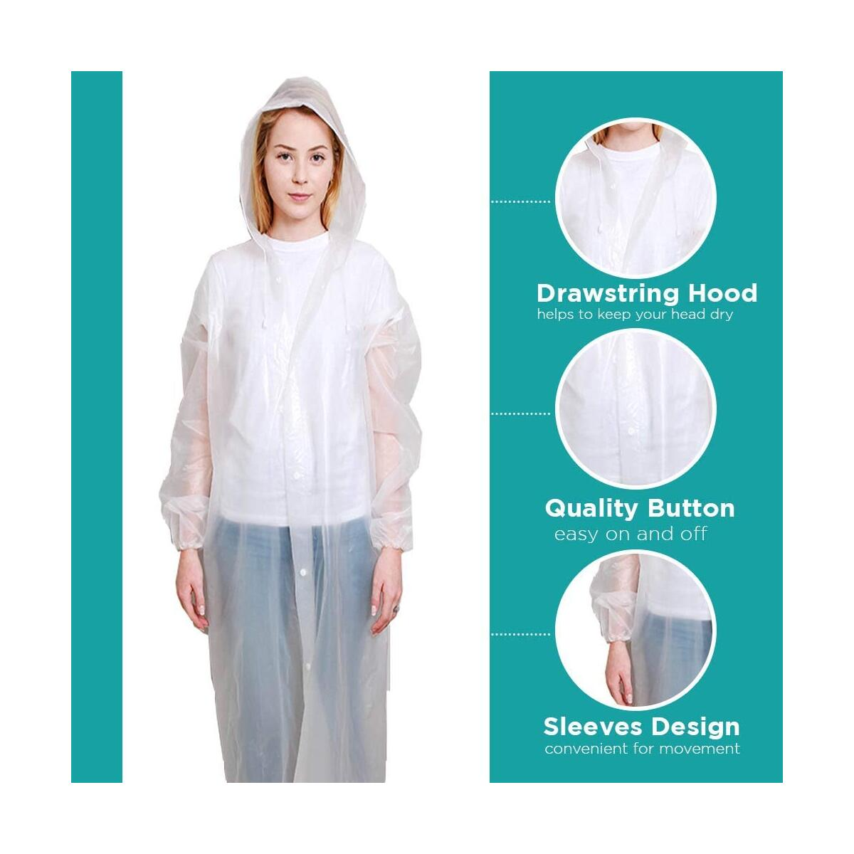 BP TRENDZ Rain Ponchos for Adults, Reusable Rain Coats for Men and Women, Waterproof with Drawstring Hood, Portable Rain Jackets for Emergency – Pack of 2