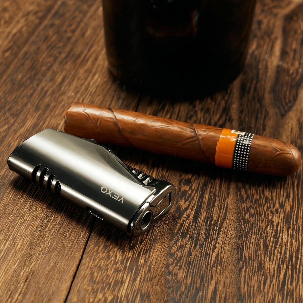 Cigar Lighter, Refillable Butane Lighter Adjustable Flame with Cigar Punch (Butane NOT Included) (Black Nickel)