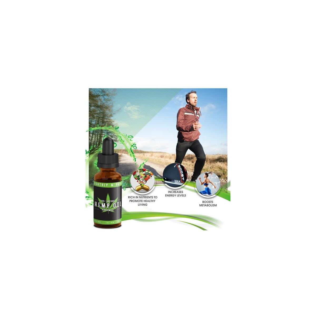 100% Organic Hemp Oil with Peppermint Flavor - Premium Omega 3 6 9 for Natural Relief from Pain Anxiety & Stress While Improving Sleep, Metabolism, and Health