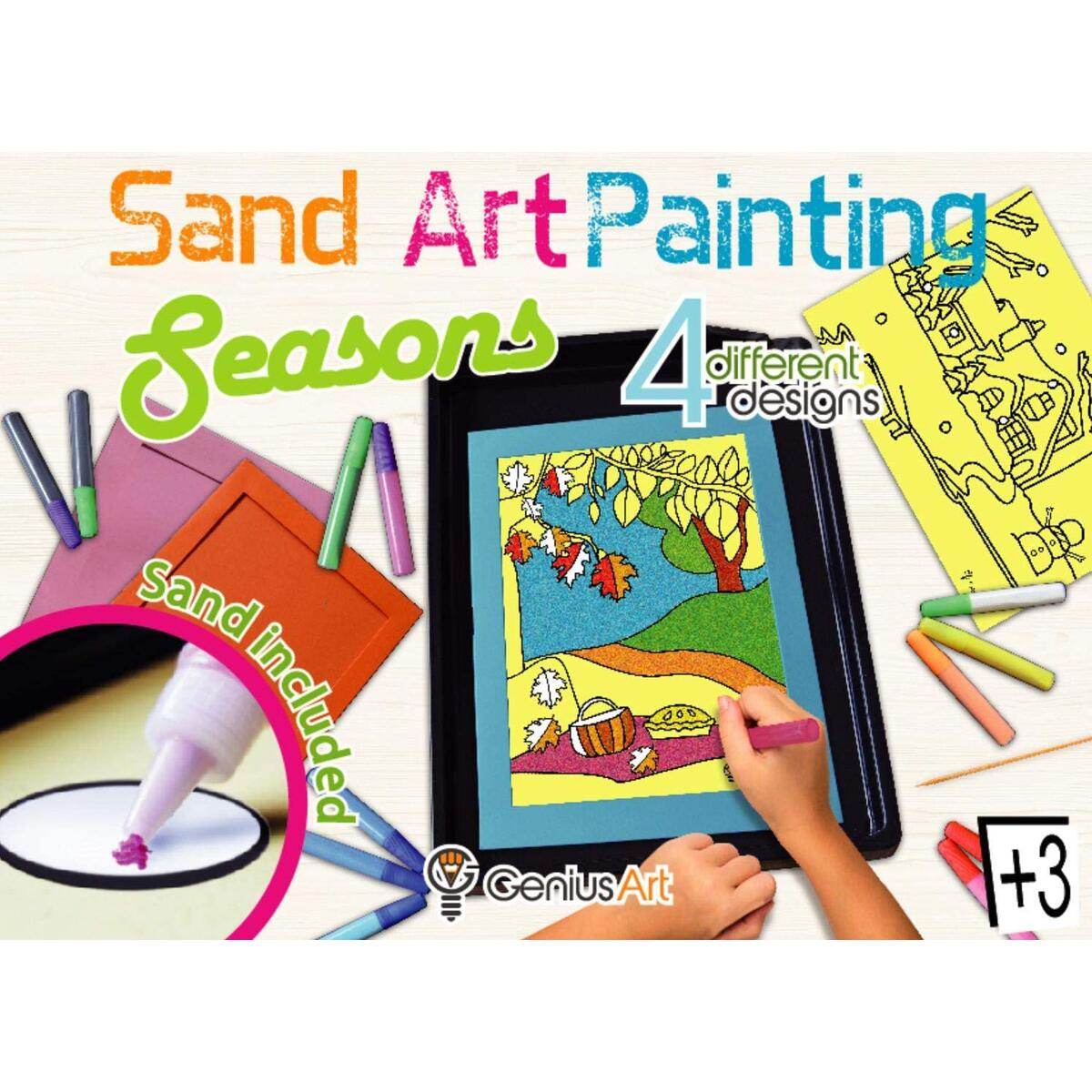 Genius Art Sand Art Painting Kits for Kids - Learn The Seasons - Arts and Crafts for Girls - Crafts for Kids Ages 4-8 - Girls Toys - Girl Crafts
