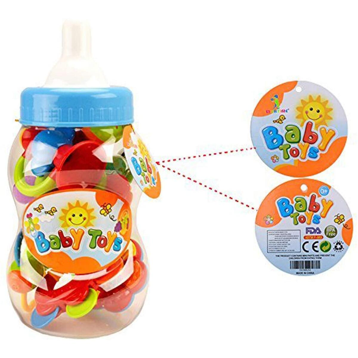 WISHTIME Baby rattles teethers for Newborn Toys,Gifts for Infants 11pcs with Hand Development Rattle Toys and Giant Bottle for 0 3 6 9 12 Month Girl and boy