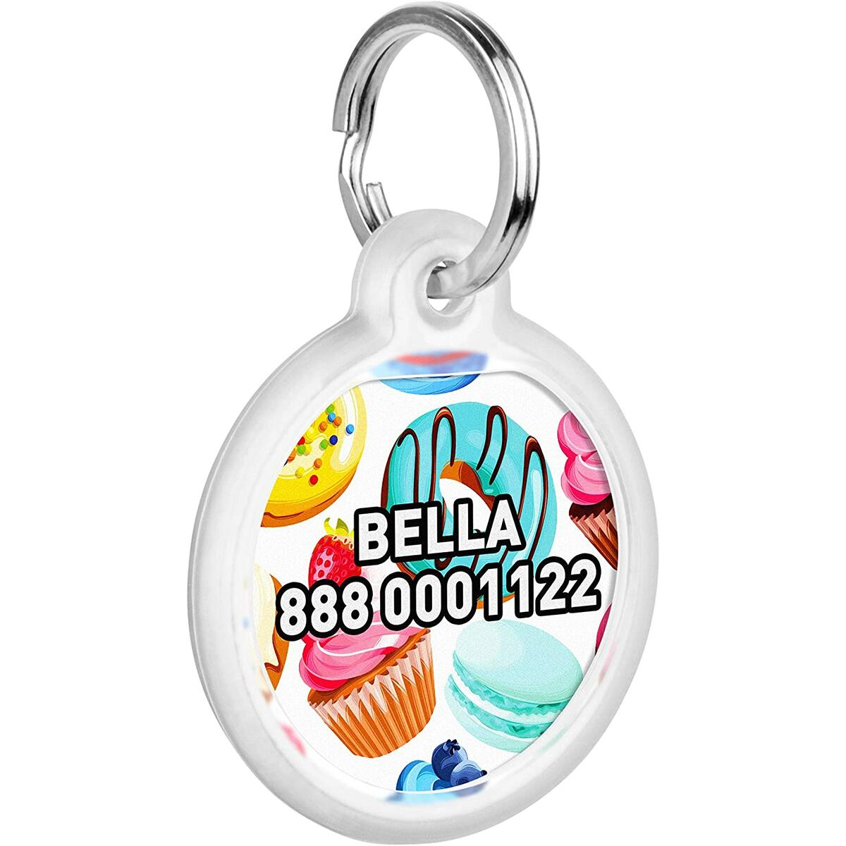 Personalized Pet ID Tag for Dog Cat with QR Pasport Global Search System of Lost Pets - Donuts Pattern