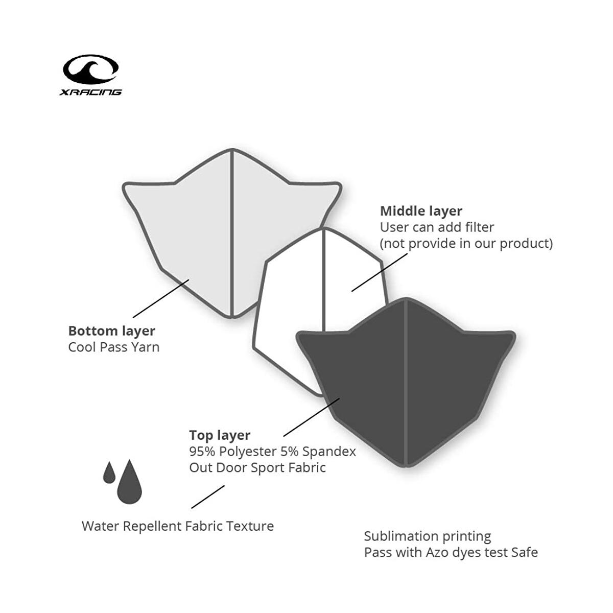 X Racing, Outdoor Sport Face Cover with 3D Face Mouth Design, UV Protection, Washable and Reusable Protector