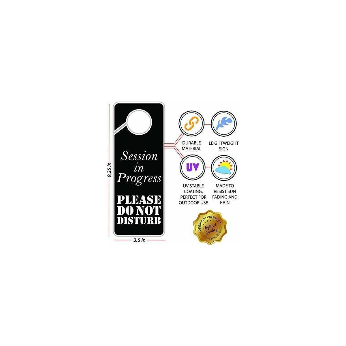 Session in Progress Please Do Not Disturb Sign, Door Knob Hanger 2 Pack, Double Sided, Ideal for Using in Any Places Like Offices, Clinics, Law Firms, Hotels or During Therapy, Massage, Spa Treatment