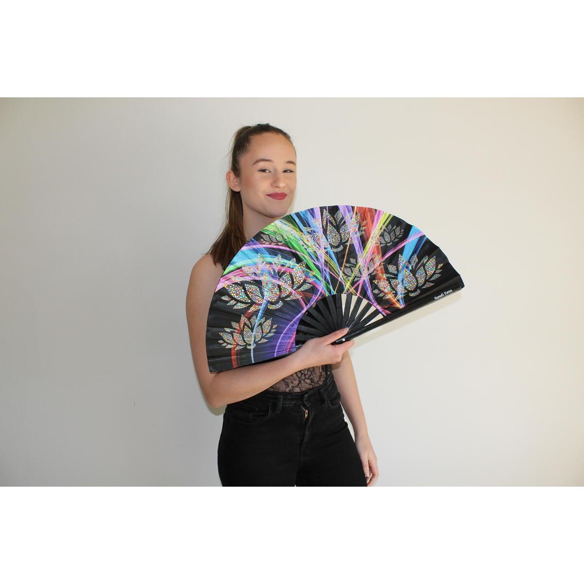 Large Bamboo Folding Rave Hand Fan - Big Folding Handheld Fan for Women/Men/Chinese/Japanese 13