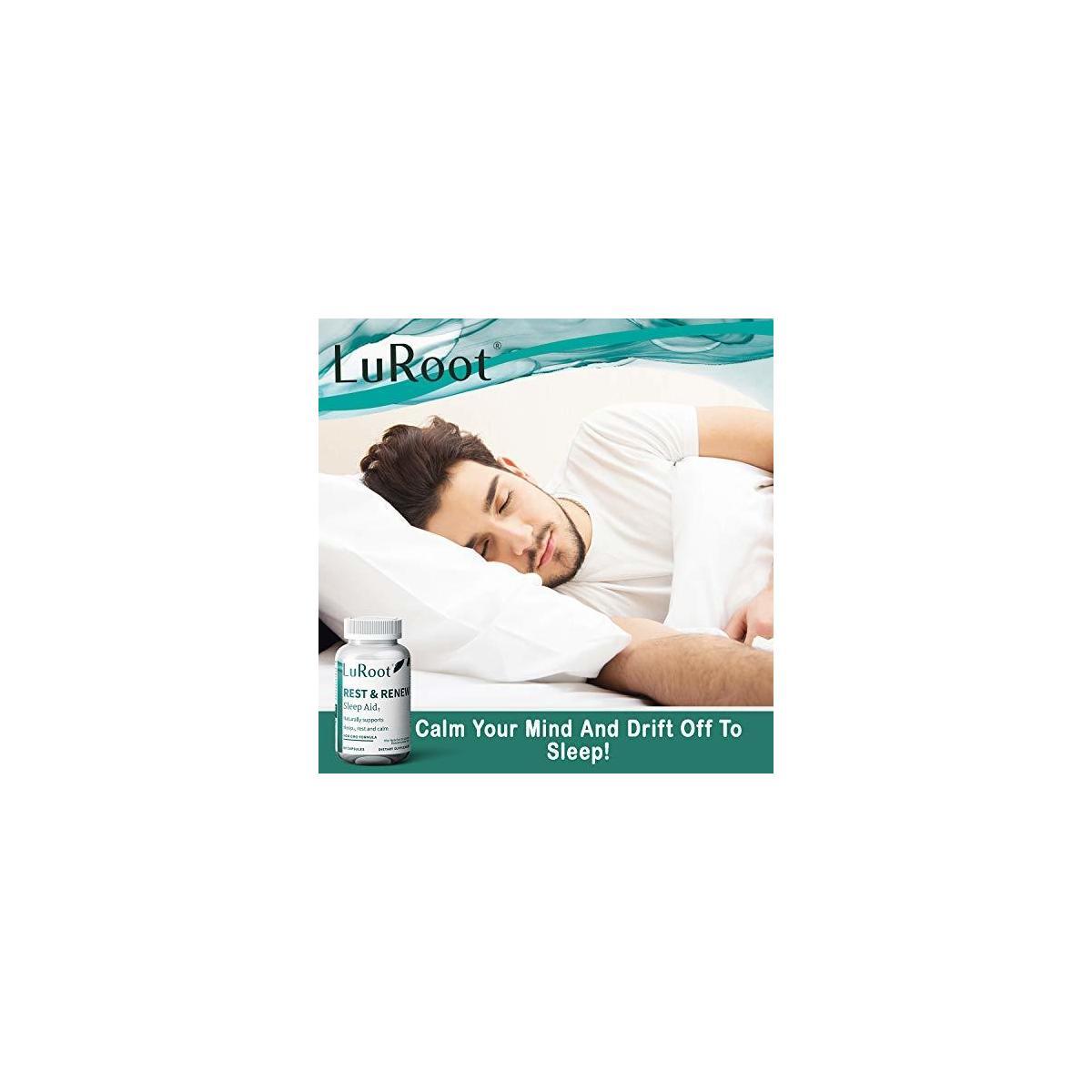 Luroot Herbal Sleep Aid for Adults - 60 Non Habit Sleep Aid Capsules - Natural Aid for Deeper Sleep - Natural Sleep Aid Supplement with Melatonin, GABA, 5-HTP, L-Theanine for Restful Deep Sleep Aid