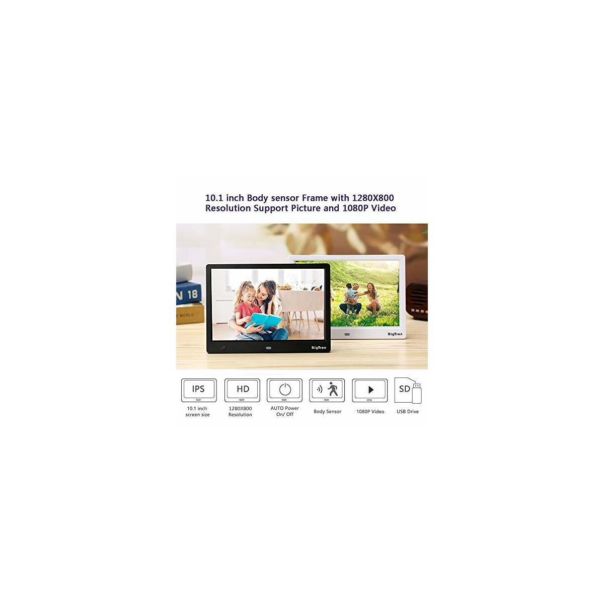 10.1 Inch 1280X800 Resolutin Digital Photo Frame (Non-WiFi) Include 32GB SD Card, HD Video Frame 16:9 300cd/㎡IPS Screen,Motion Sensor, USB and SD Card Slots with Remote Control-Black