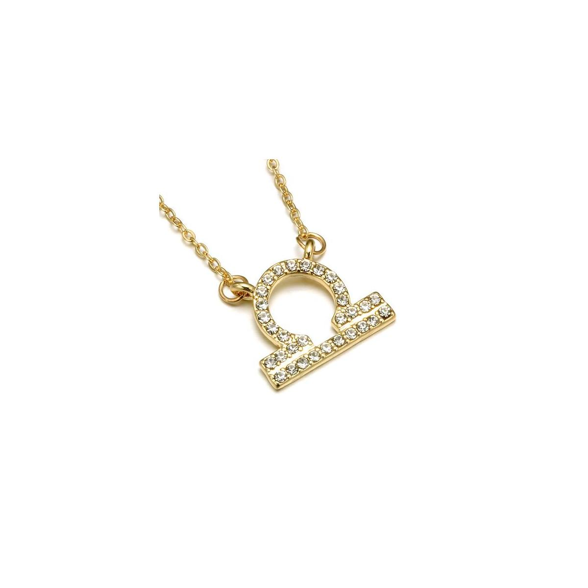 Gold Zodiac Necklace, Rhinestone Encrusted 12 Constellations Zodiac Sign Necklaces for Women