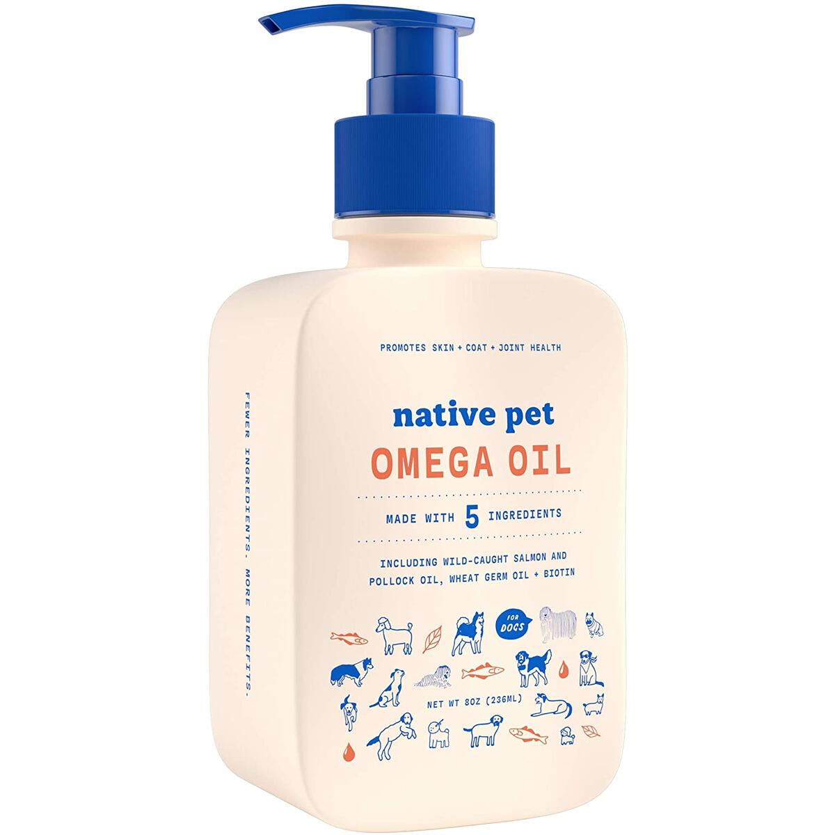 Native Pet Omega Oil for Dogs - Omega 3 Wild Caught Fish Oil Supplement for Dogs - All-natural skin & coat, mobility, & heart health supplement!