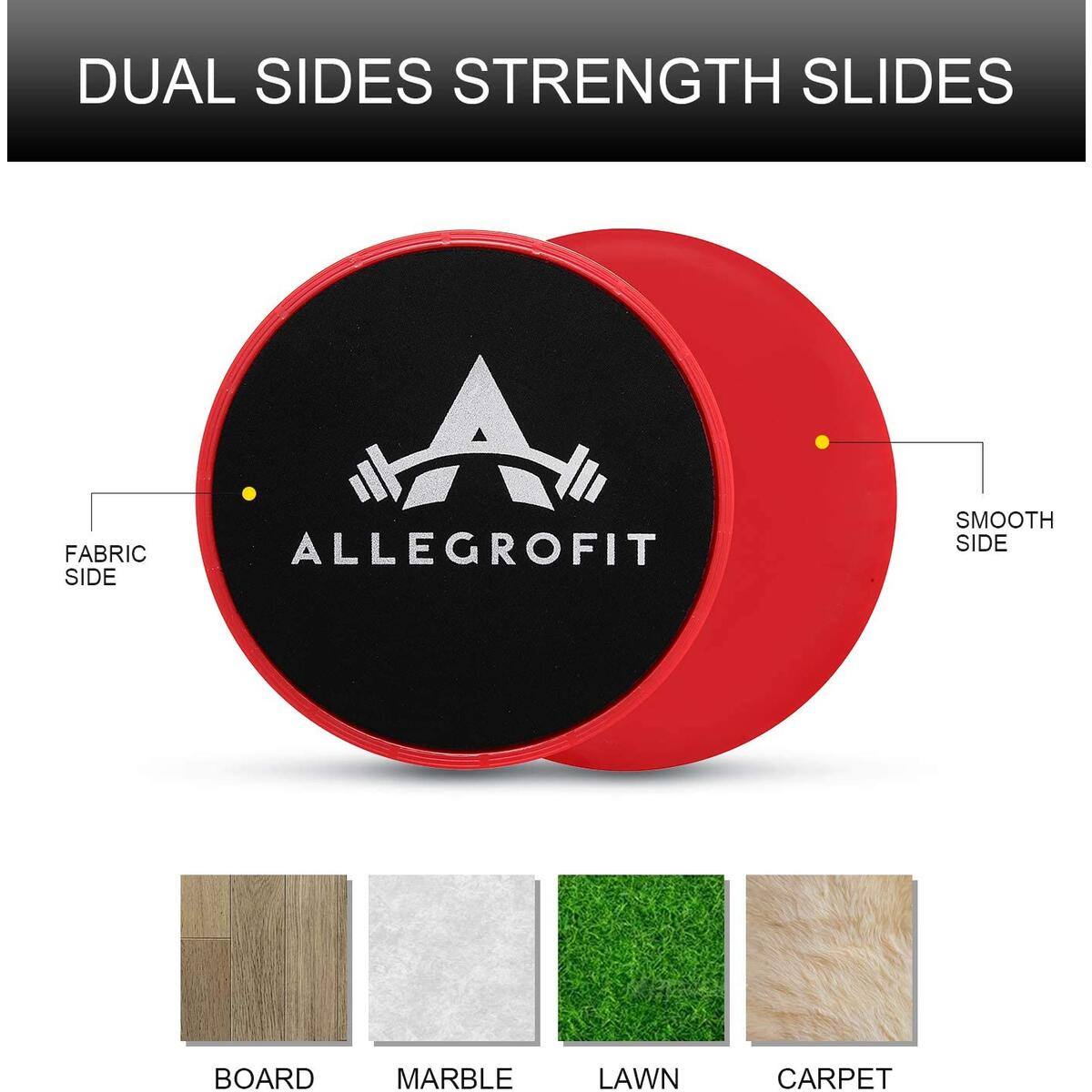 AllegroFit Dual Sided Core Strength Sliders set with Carry Bag & Manual.