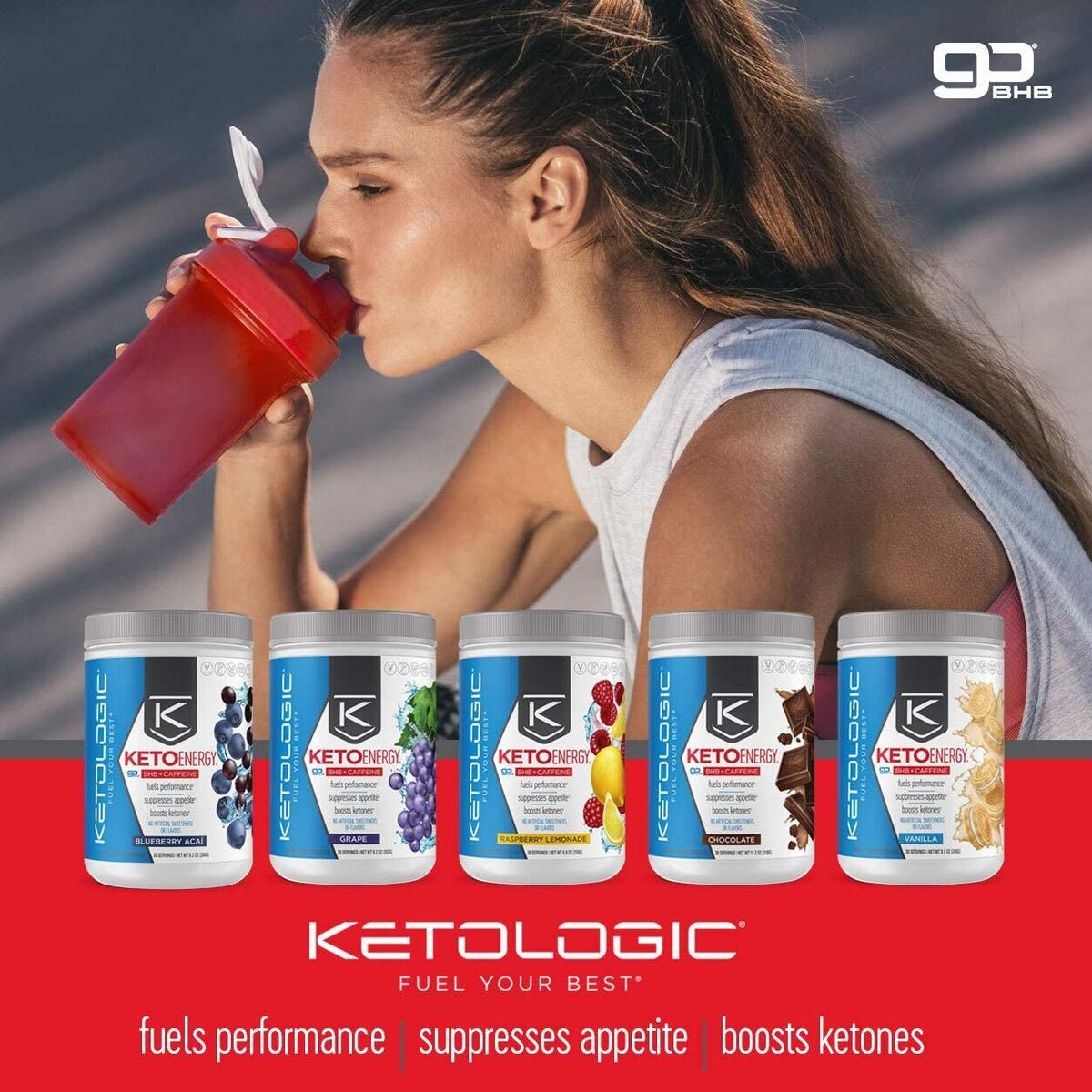 KetoLogic BHB Exogenous Ketones Powder with Caffeine (30 Servings) - Keto Pre-Workout, Boosts Ketosis, Energy & Focus - Support Keto Diet with Beta-Hydroxybutyrate Keto BHB Salts - Grape