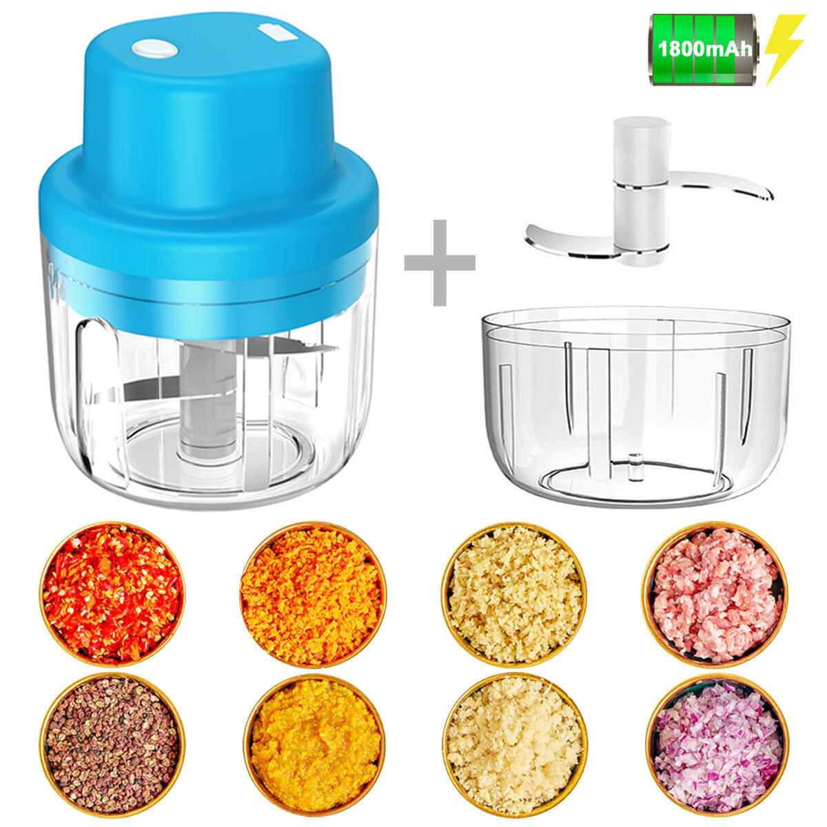 Electric Mini Garlic Chopper Mincer Cutter Masher, 【Upgrade】 300ML & 150ML 45W Powerful Wireless Portable Small Food Processor Handheld Blender Grinder For Meat Onion Ginger Chili Pepper Vegetable Nut