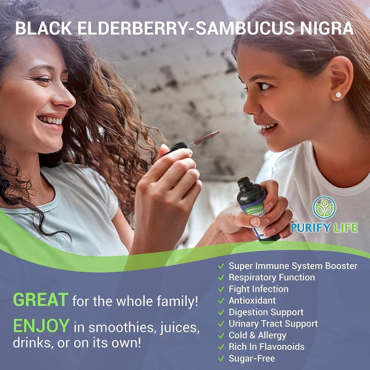 Organic Elderberry Syrup for Adults & Kids (Large Tincture - 6000mg) Sugar-Free Immune Support - Vegan Sambucus Liquid Extract - Antioxidant Juice Supplement Replaces Gummies, Capsules, & Tablets 2oz