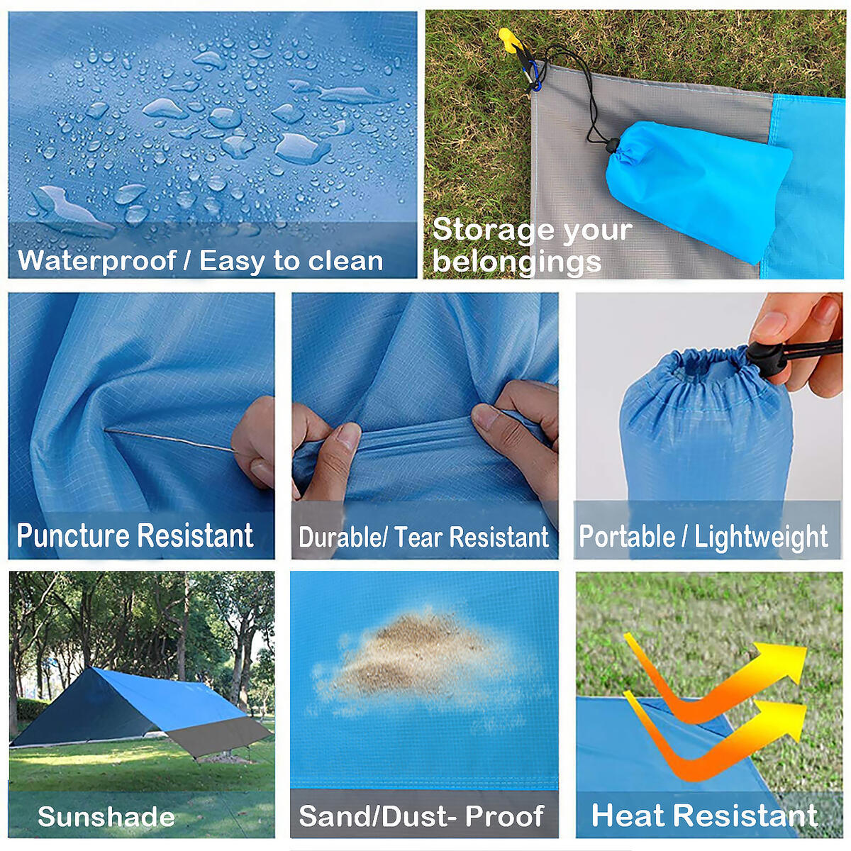 Beach Blanket + Waterproof Mobile Pouch. Extra Large Picnic Mat- Waterproof& Sand Free& Portable& Lightweight for Travel, Camping, Music Festival (83