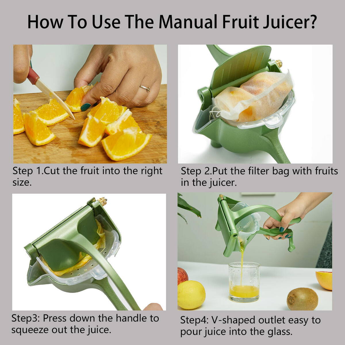 Manual Fruit Juicer With Detachable Liner Hand Press Teflon Fruit Juicer Premium Quality Metal Aluminum alloy Lemon Squeezer with 5 pcs Filter Bags and 1 Fruit Clip Green Manual Juicer, DIDU