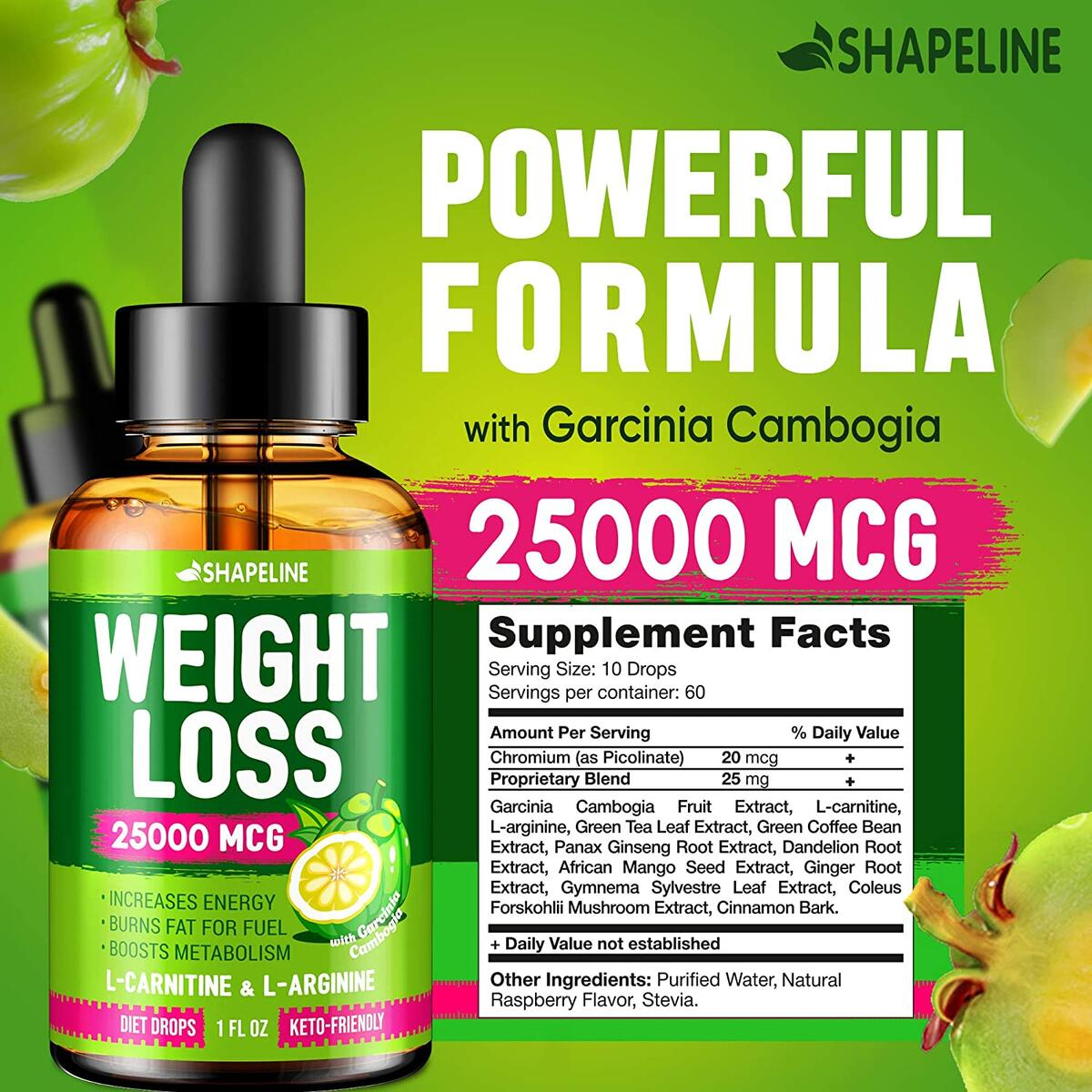Weight Loss Drops - Appetite Suppressant for Women & Men - Made in The USA - Natural Metabolism Booster - Fast Weight Loss - Diet Drops with Garcinia Cambogia, L-Arginine & L-Glutamine
