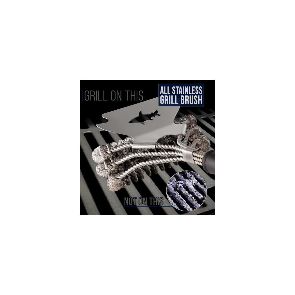 Bristle Free Grill Brush and Scraper - BBQ Cleaner Tool - Spring Coil Grate Scrubber (New 2020 Model)