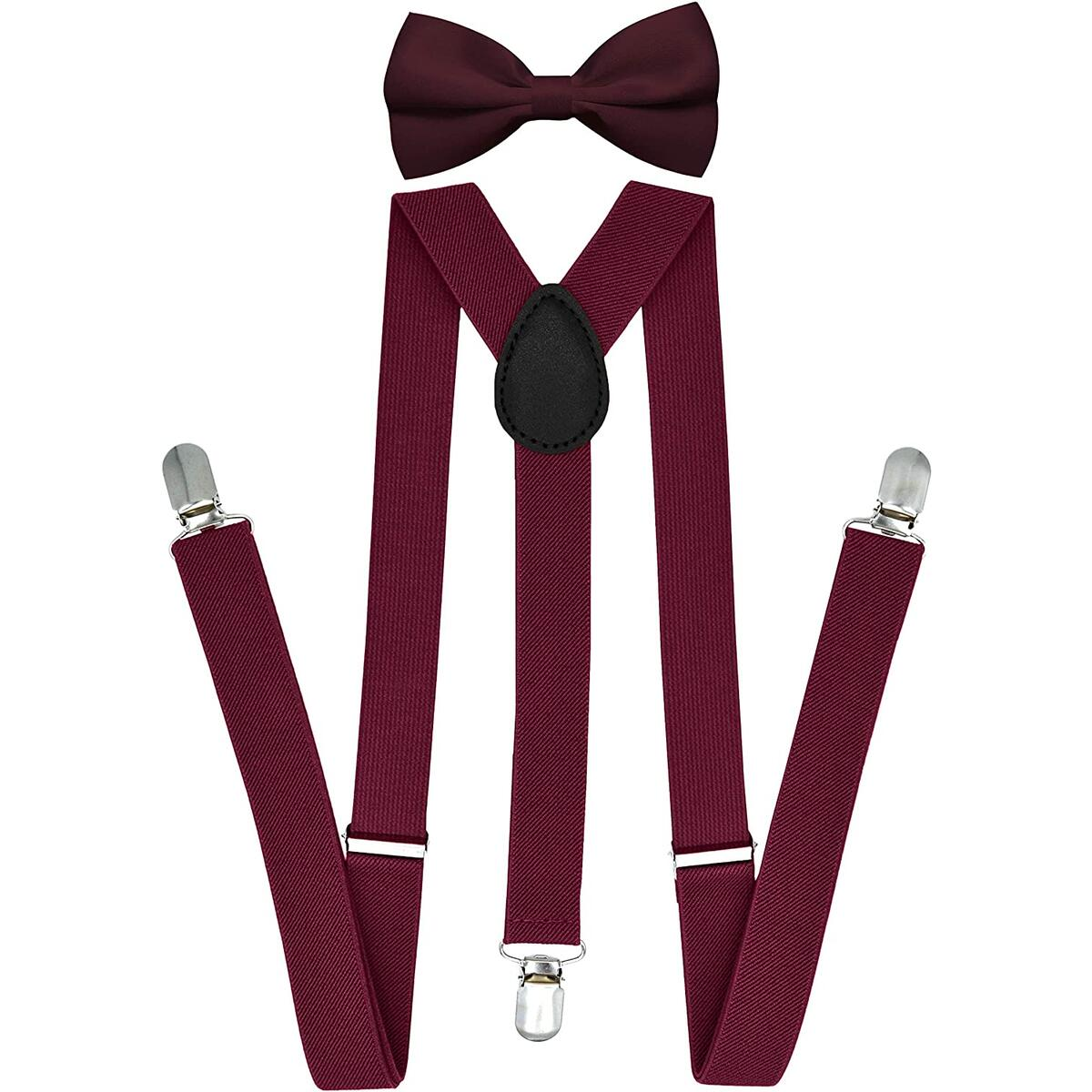 Trilece Suspenders for Men Adjustable Elastic Y Back Style Suspender and Bow tie sets - Burgundy
