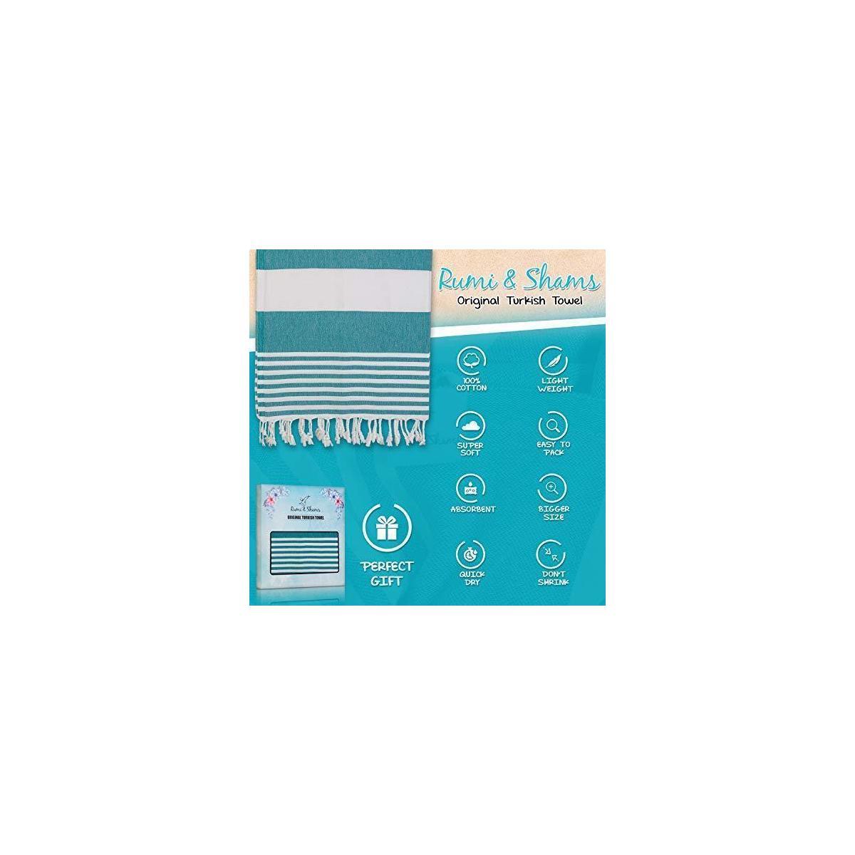 Rumi&Shams Turkish Beach Towel 35x71 Jumbo Oversize. 100 Percent Cotton, Lightweight, Highly Absorbent, Quick Dry, Prewashed Peshtemal. Makes a Soft Blanket, Yoga Mat, Bath Towel