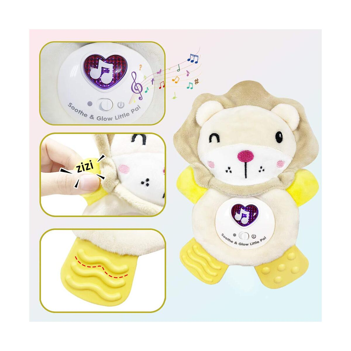 WISHTIME Baby Activity and Teething Toy with Multi-Sensory Rattle and Textures, Infant Huggable Lion Teether, Soft Comfort Plush Toys