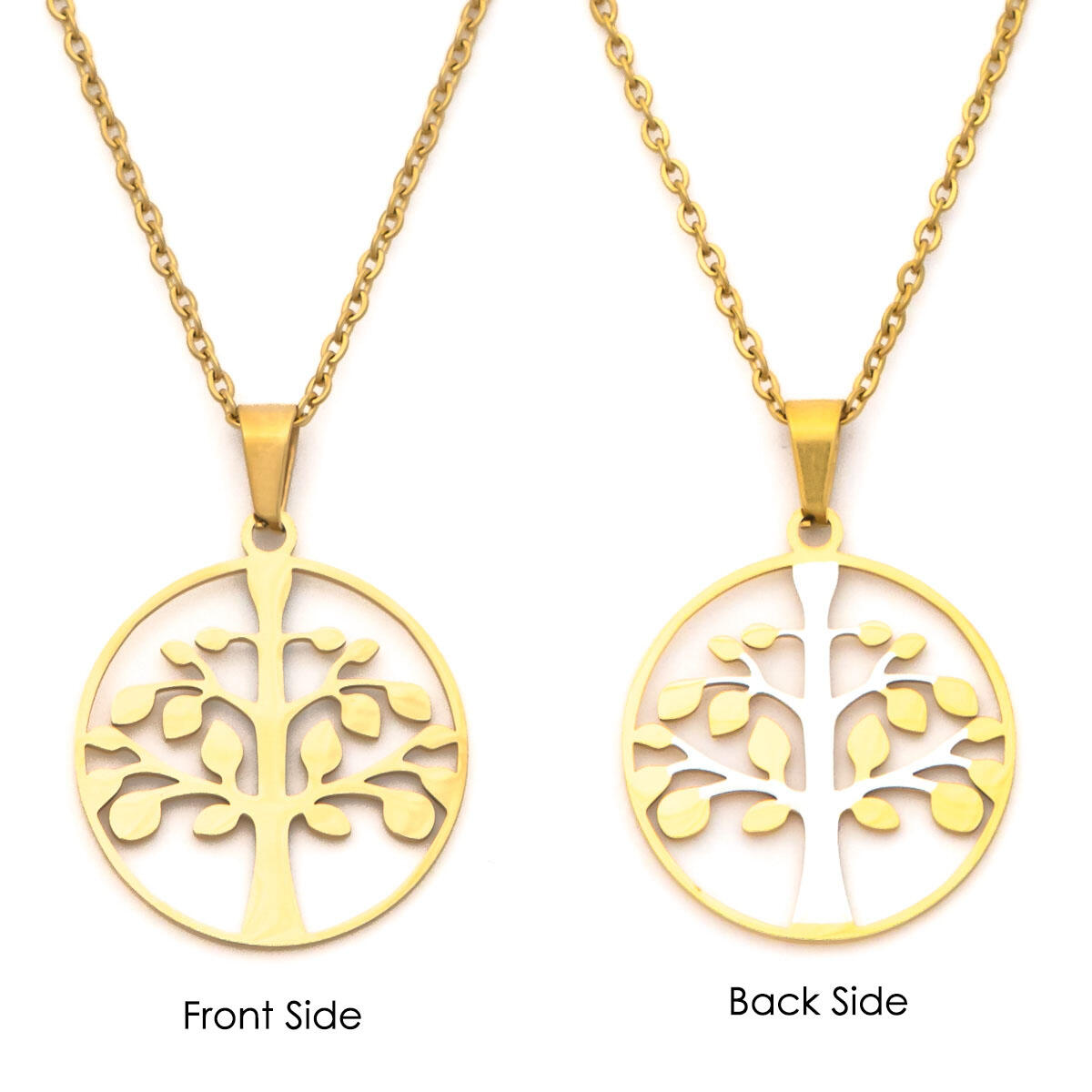 Tree Pendant Necklace Gold Necklace - 14k Gold Family Tree Pendant Necklace Charm Necklace Lucky Necklace for Women (Gold)