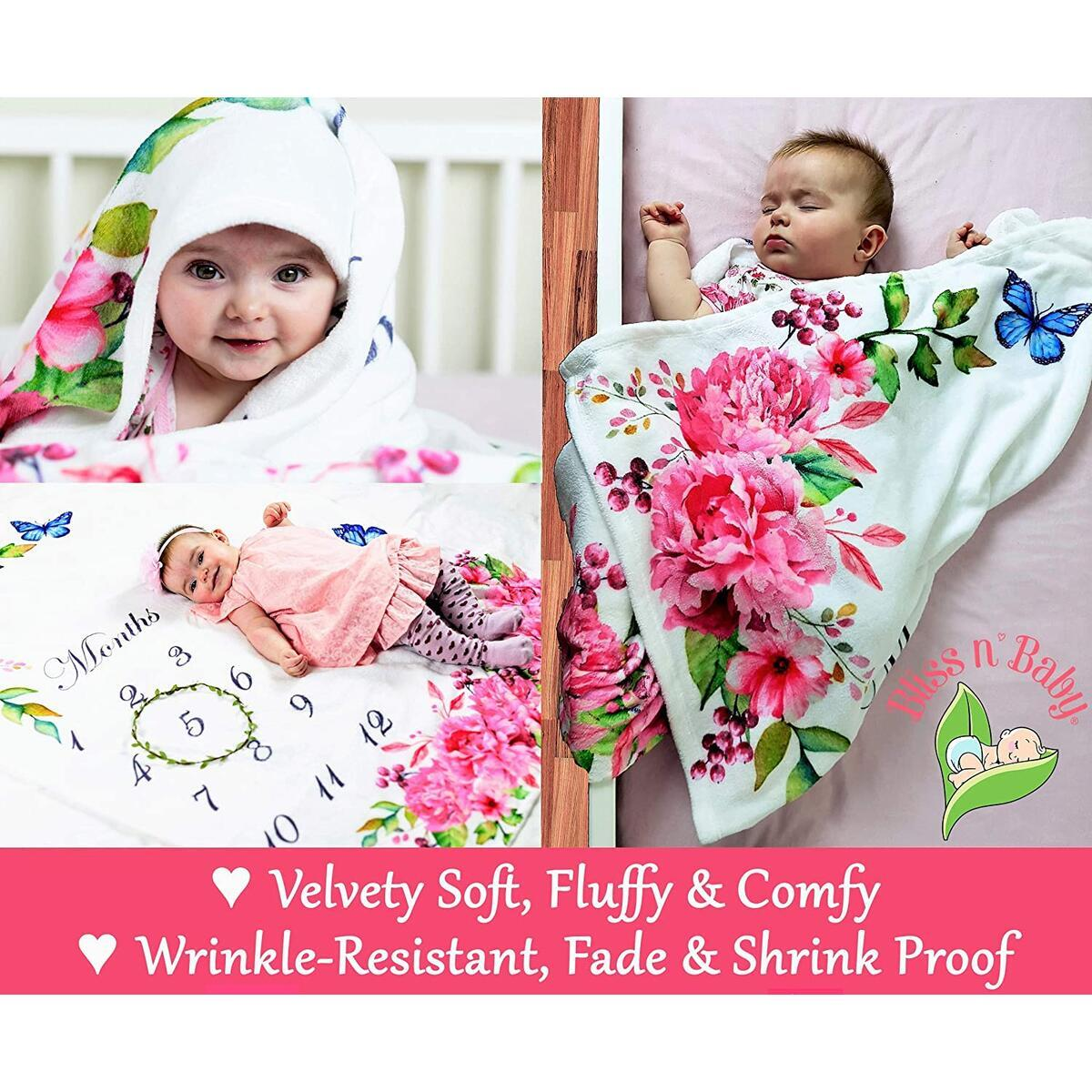 Baby Monthly Milestone Blanket Girl - Floral Backdrop Milestone Blanket Baby Girl - Perfect Baby Girl Gift - Ultra Soft, Fluffy, Large & Thick - 100% Wrinkle Free - First Year Baby Growth Chart Blanket
