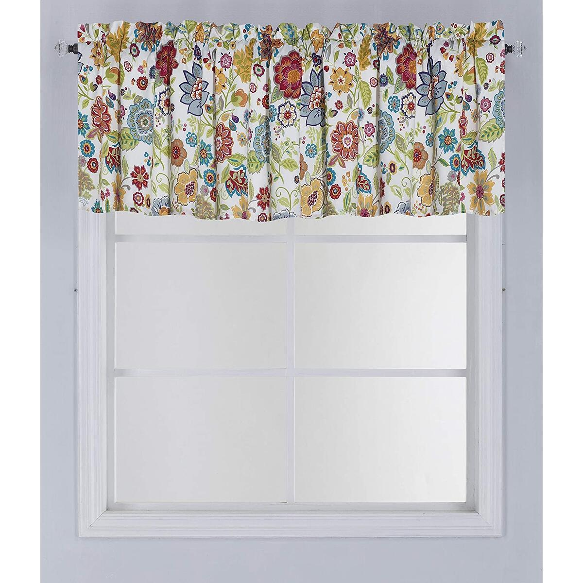 1pc Microfiber Printed Window Curtain with Rod Pocket Double Layer Floral Panel (1pc 84X18)