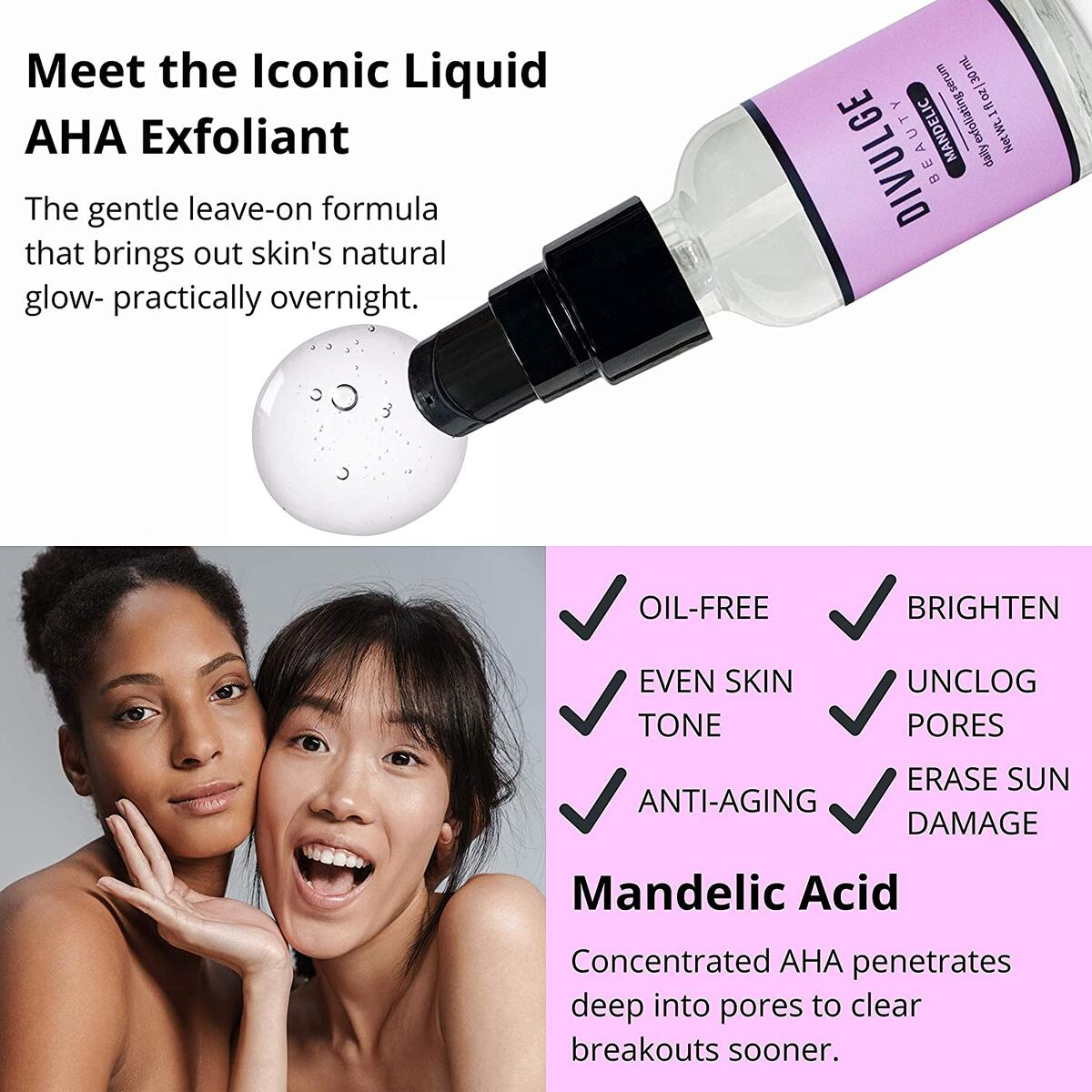 AHA Mandelic Acid Gel Daily Exfoliating Acne Scar Treatment Serum for Dark Spots, Hyperpigmentation, Cystic Hormonal Acne, Folliculitis for Face, Back, Thighs, Arms, Chest, Butt 1 oz - Divulge Beauty