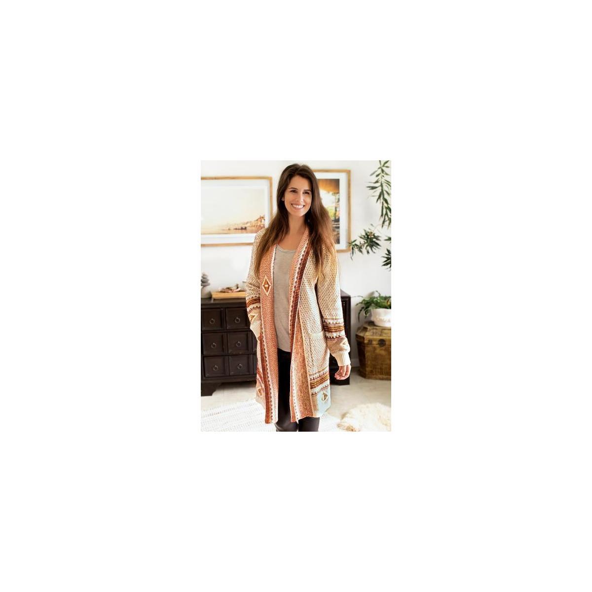 Happy Trunks Womens Boho Cardigan Sweaters Long Sleeve Open Front Maxi Knit Aztec Tribal Fringe Thin Coat