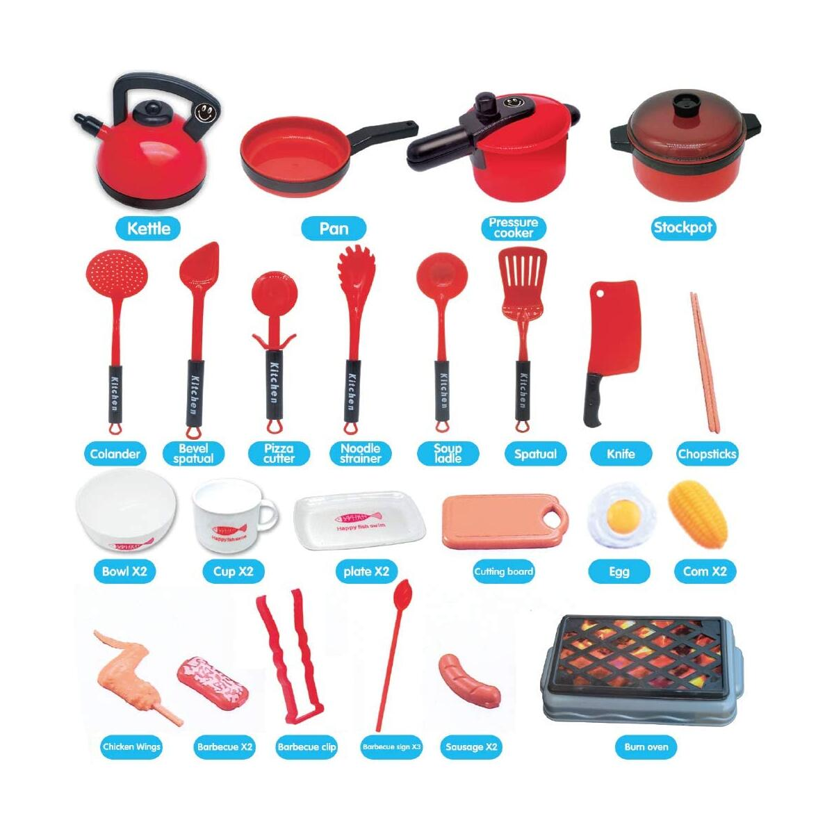 Happytime 36 Pieces Cooking Pretend Play Toy Kitchen Cookware Playset Including Pots and Pans, Play Food, Cutting Vegetables, Toy Utensils
