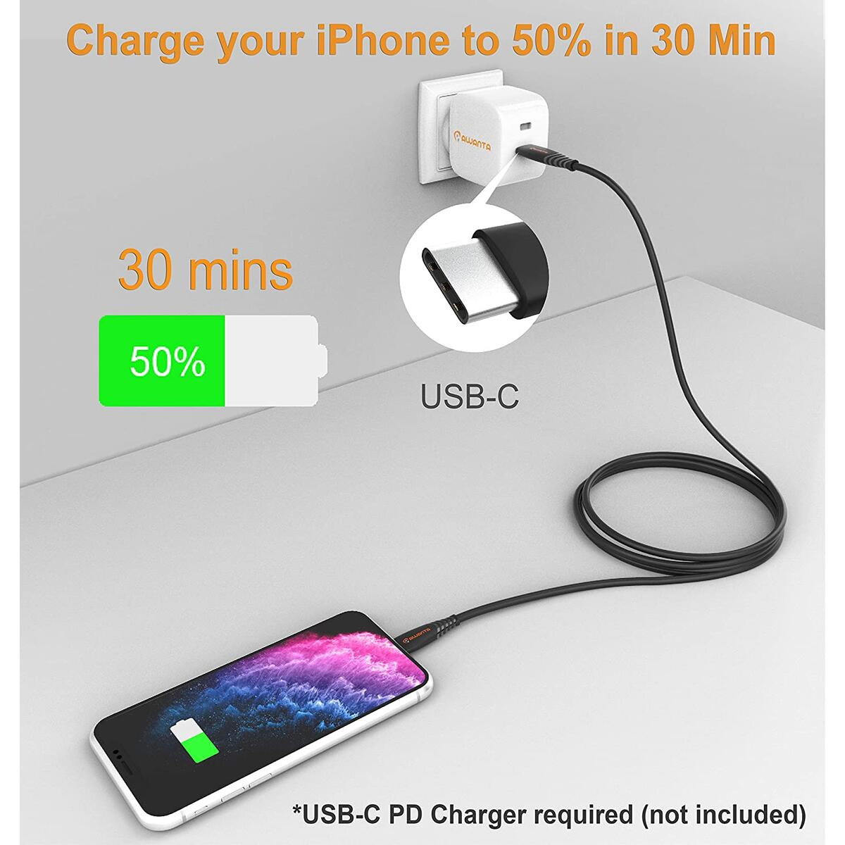 AWANTA USB C to Lightning Cable