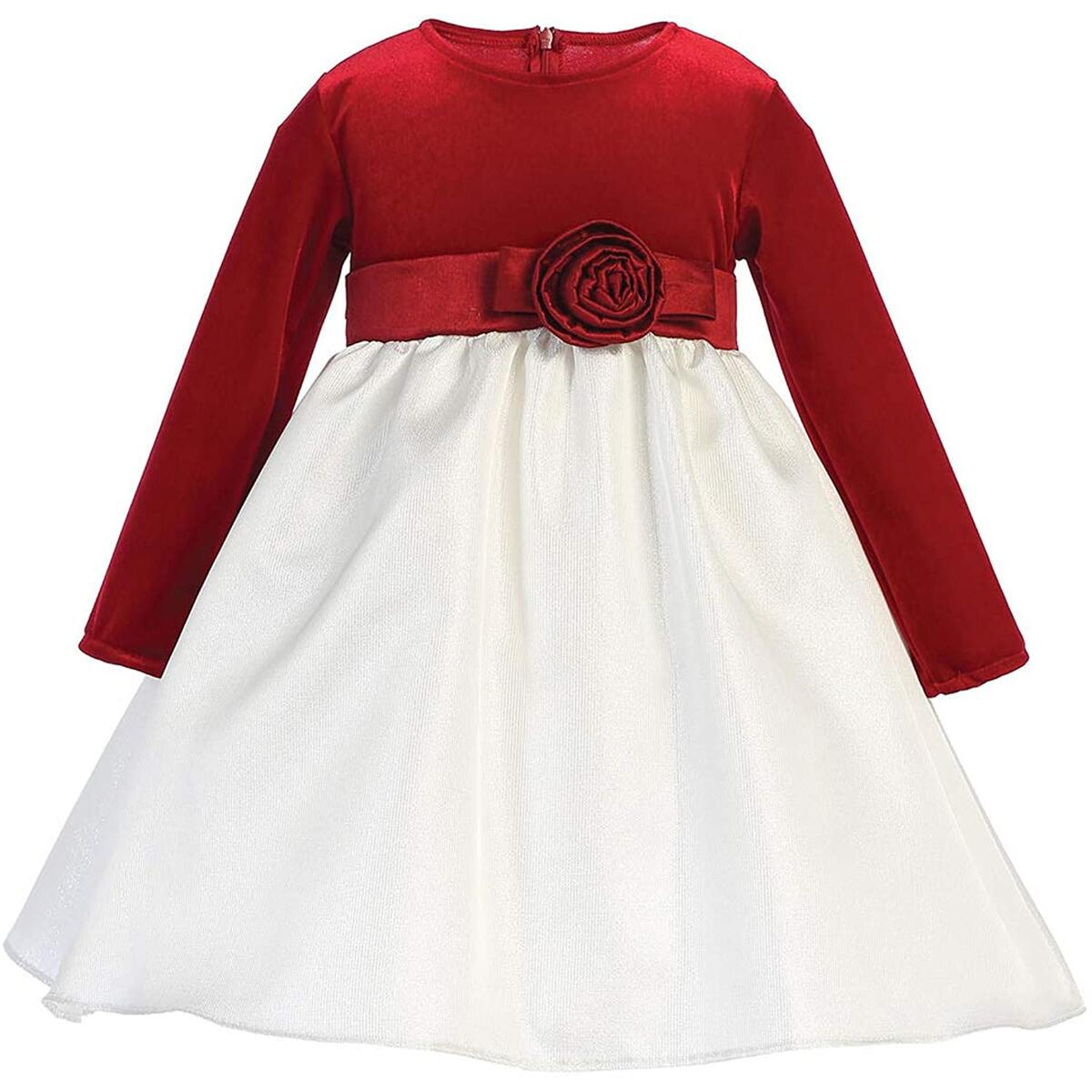 Pink Princess Christmas Dresses for Girls - Red Long Sleeve Baby Toddler Outfits - Made in USA