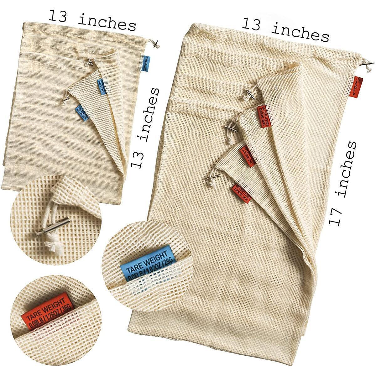7 Reusable Produce Bags + 2 Reusable Grocery Bags. Reusable Shopping bags, Beach bags, Sandwich bags. Zero Waste. 100% Cotton Mesh. Color-Coded Drawstring by Size & Tare Weight Tags.