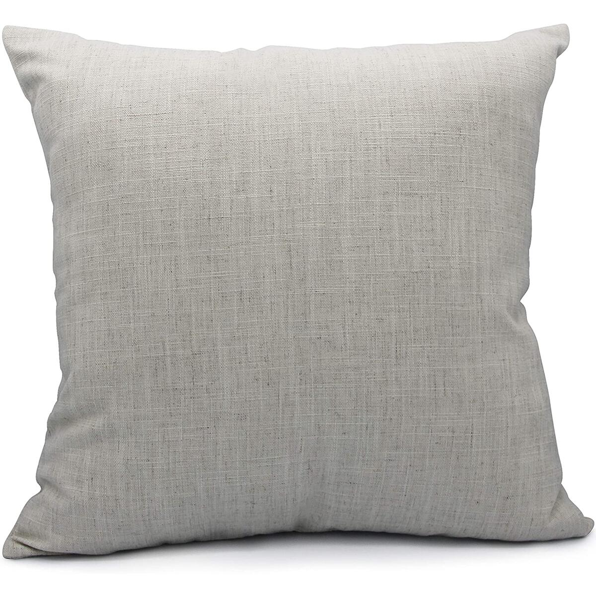 B.Y Elements Burlap Linen Square Throw Pillow Covers for Sofa Couch Chair with Invisible Zipper, Farmhouse and Modern,18x18 Inches,Light Grey…