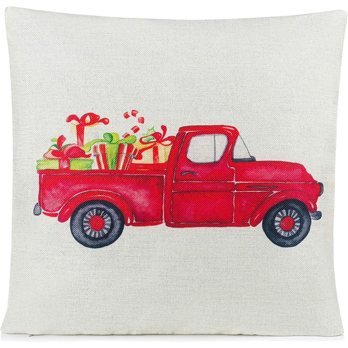 Rustic Christmas Pillow Covers | Christmas Throw Pillows | Farmhouse Christmas Decor | Christmas Pillow Covers | Rustic Holiday Decorations 18 x 18 Inch Red Truck Christmas Pillow Cover Decor
