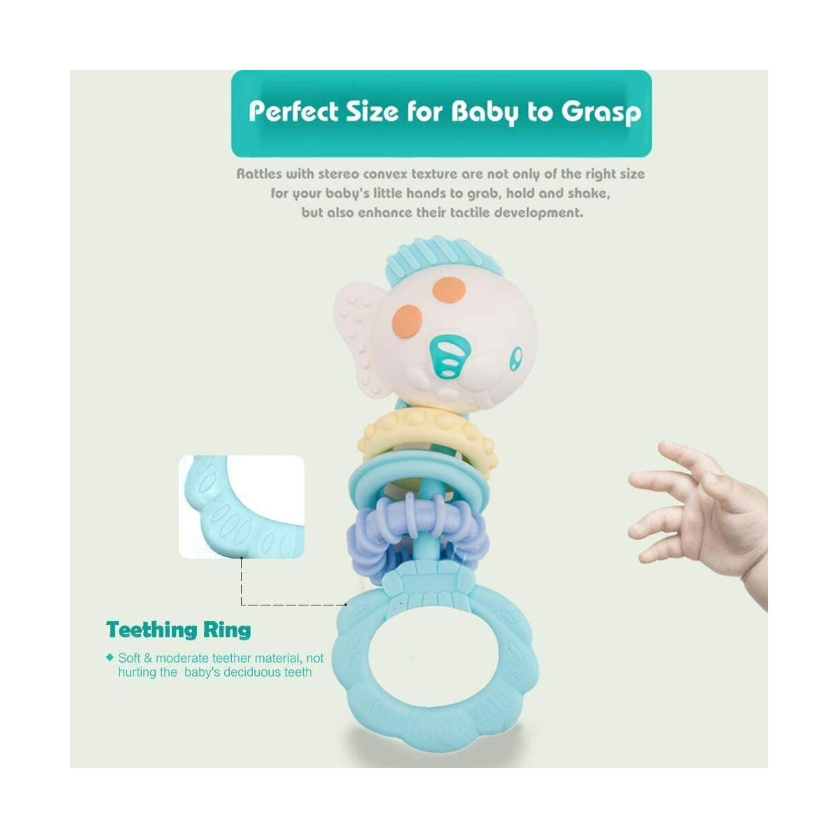 HANMUN Rattle Teether Baby Toys Baby 8 pcs Animal Shake and GRAP Baby Hand Development Rattle Toys with Storage Box for Newborn Infant 0-12 Months