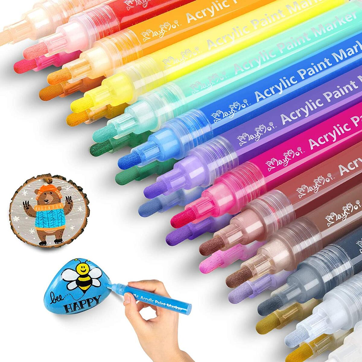MayMoi Acrylic Paint Pens Reversible Tip for Rock Painting, Stone, Ceramic, Glass, Wood, Fabric, Canvas (24 Colors & Medium Tip Paint Pens)