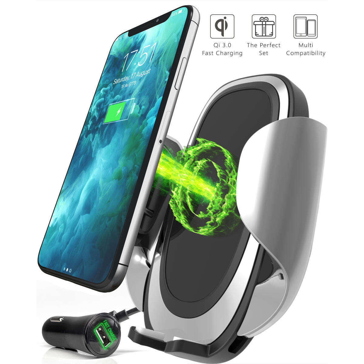 3-in-1 Wireless Car Charger Mount for Air Vent, Dashboard & Windshield