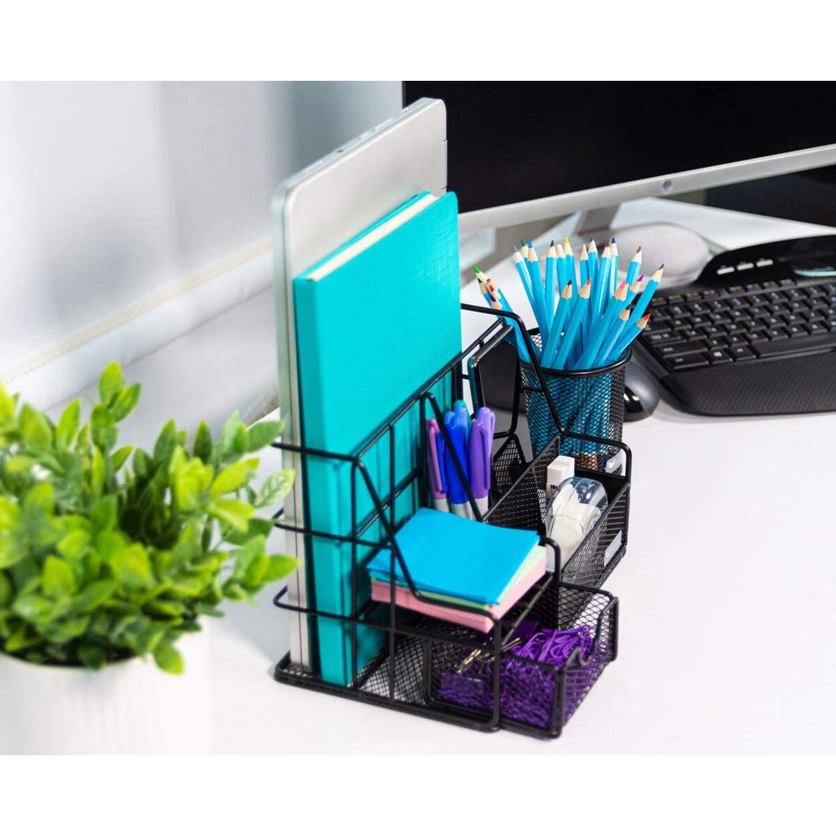 Orgowise Mesh Desk Organizers and Accessories Set. Black Desktop Organizer with Pen Holder and Paper File Organizer for Real Desk Organization. Cute Office Supplies Storage for Kids and Adults…
