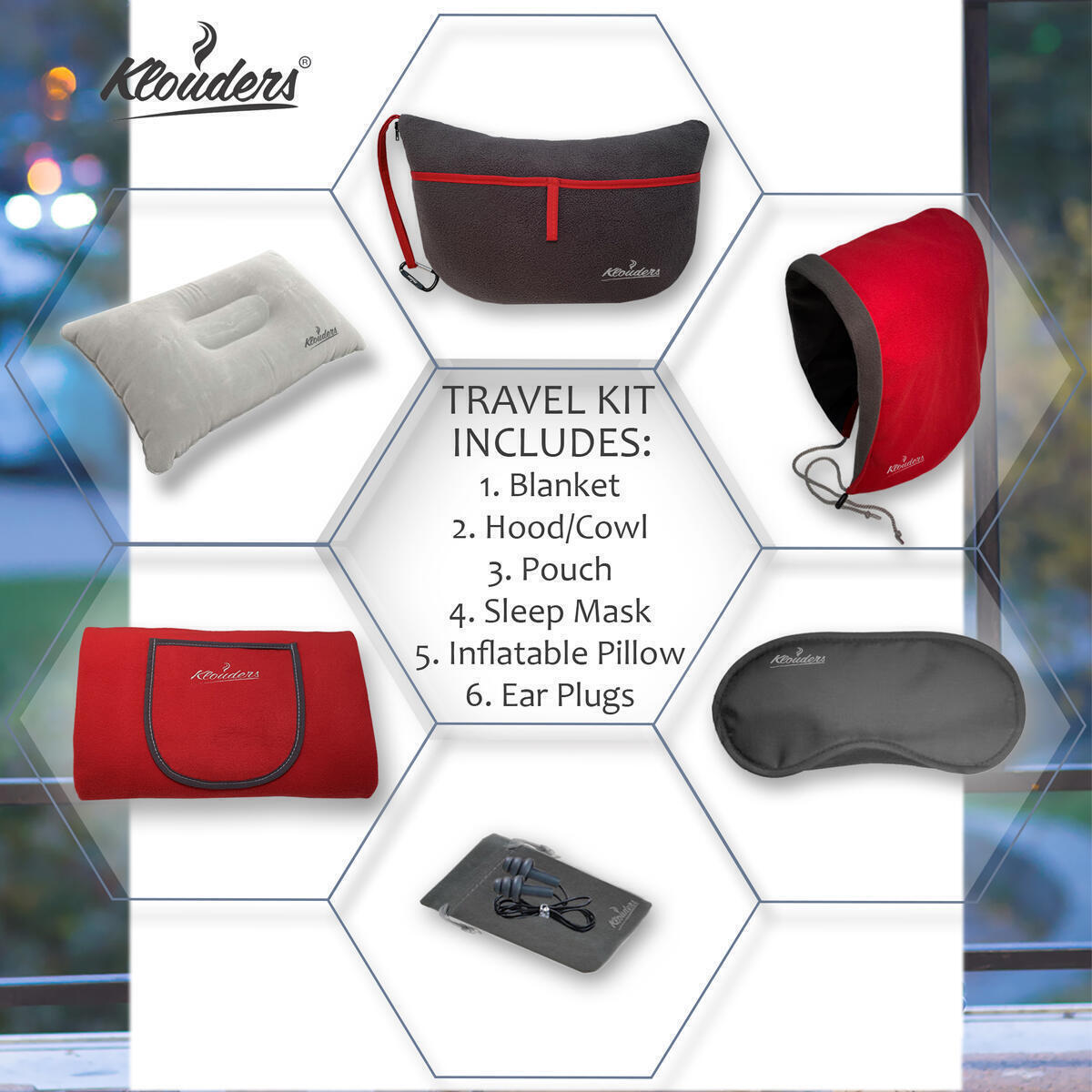 Klouders Fleece Blanket - Luxury Travel Kit 6-in-1 with Great Combination of Sleep Mask - Ear Plugs - Rest-Quality Hood - Travel Accessories Storage Organizer – Bonus - Inflatable Travel Pillow