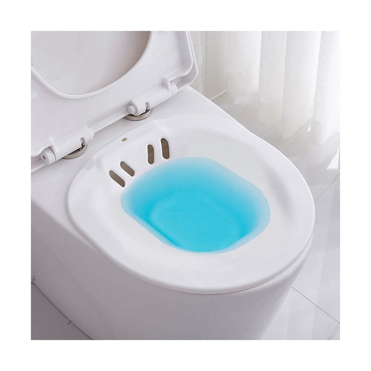 Sitz Bath for Toilet Seat, CHICHENGBA Over-The-Toilet Perineal Soaking Bath for Hemorrhoids, Yoni Steam, Perfect for Pregnant Postpartum Women and Elderly,Fits Standard Toilets(White)