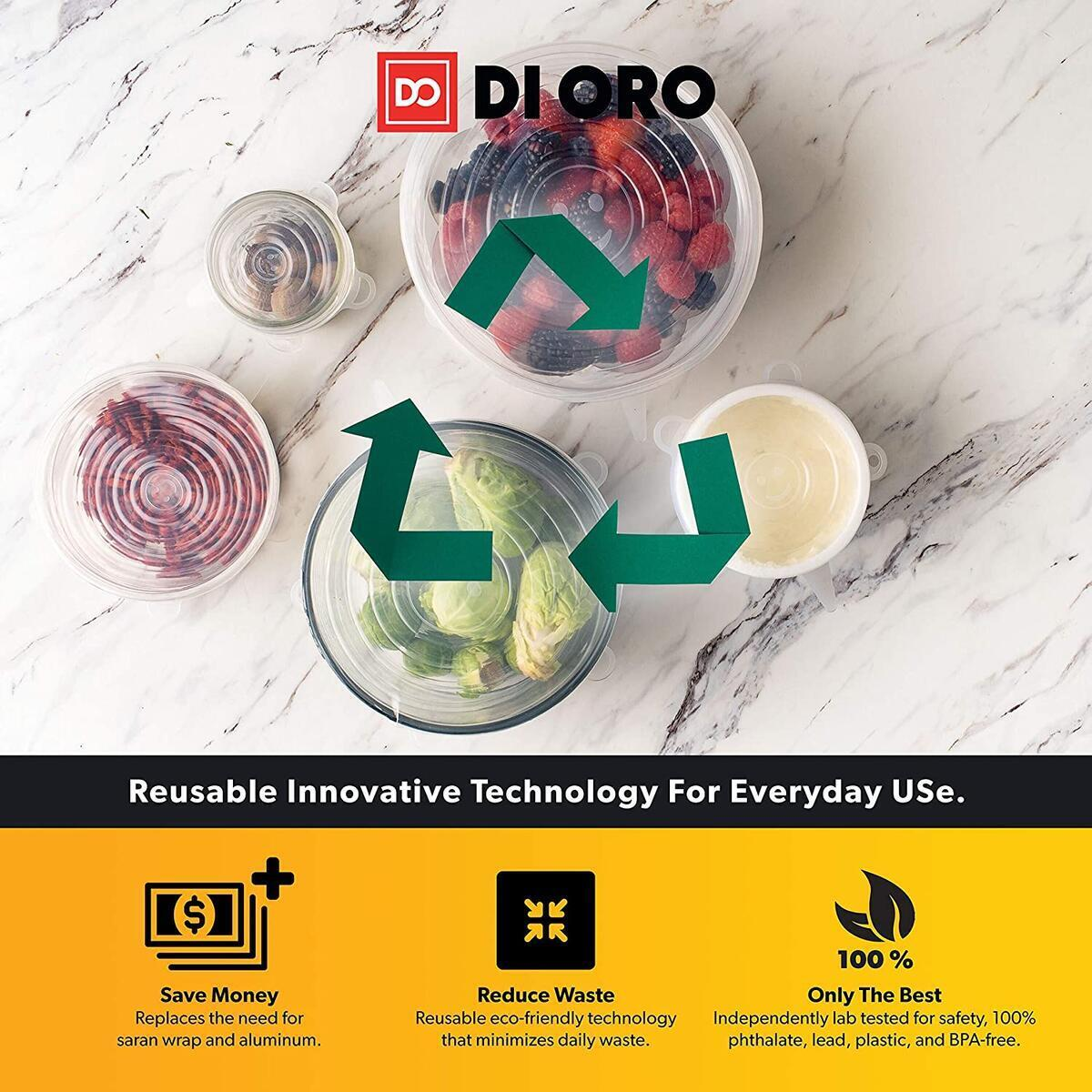 DI ORO Silicone Stretch Lids 14 Pack – Reusable Food Storage Covers for Bowls and Containers – Variety of Sizes, Easy to Clean, and Dishwasher Safe