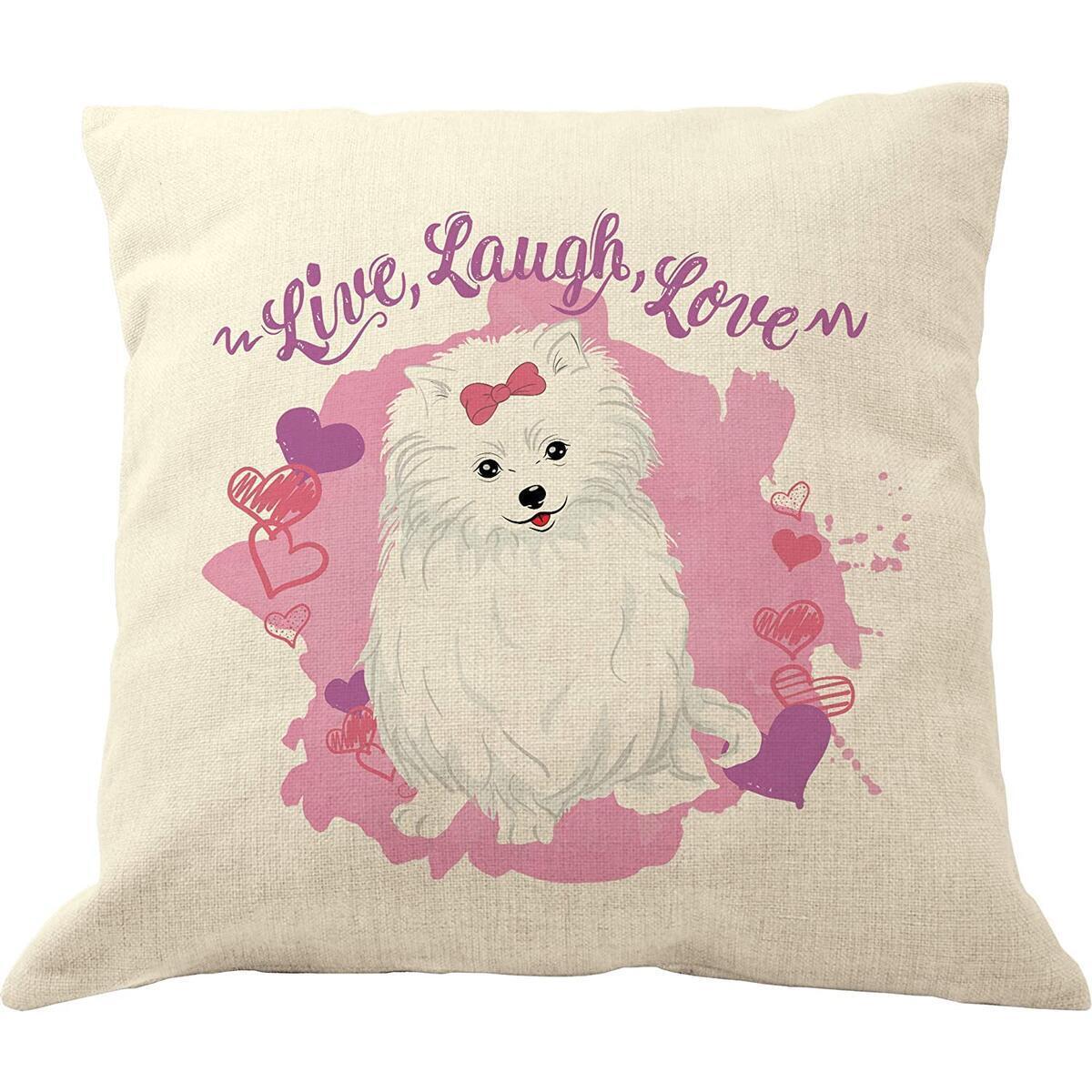 DrupsCo Live Laugh Love Pomeranian Pillow Cover 18x18, Cotton Linen Dog Throw Pillow Case