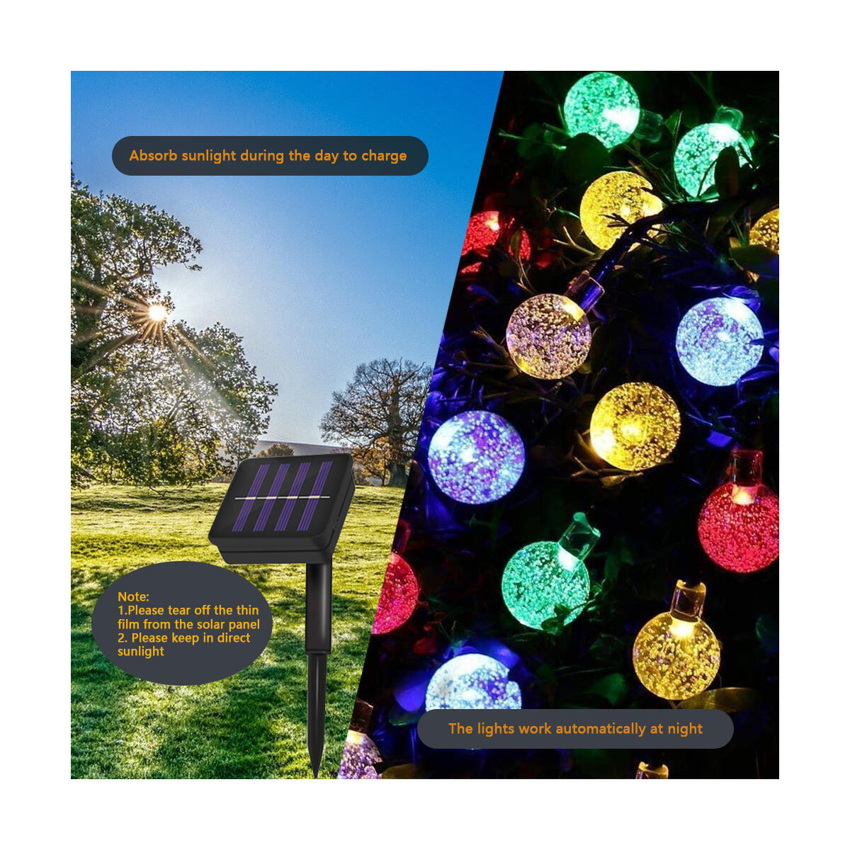 Correare Solar String Lights Outdoor,100 LED 39FT 8 Modes Waterproof Globe Fairy String Lights for Garden Patio Backyard Party Home Wedding Party Christmas Holiday Decoration(Multi-Coloured)