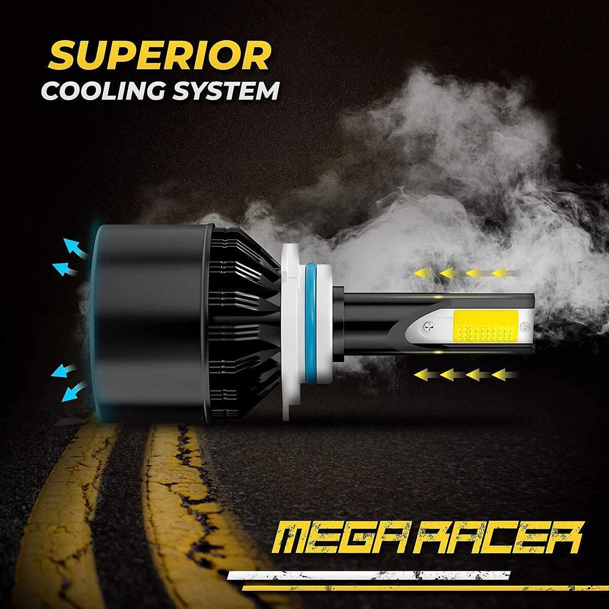 Mega Racer 9145/H10/9140/9155 LED Fog Light Bulb, 3 Changeable Colors for Fog Light Replacement Bulb (6000K Diamond White, 3000K Golden Yellow, 4300K Warm White), 50W 8000 Lumens COB IP68, Pack of 2