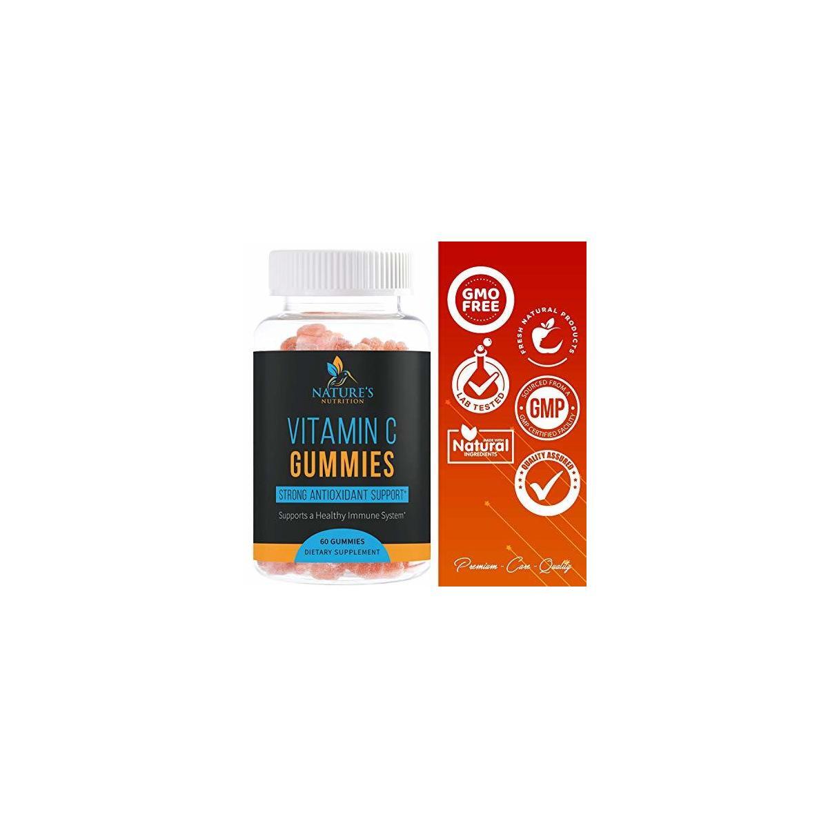 Vitamin C Gummies High Potency Immune Gummy - Chewable Immune System Support & Antioxidant Formula - Best Vegan Natural Health Support for Men, Women and Kids - 60 Gummies