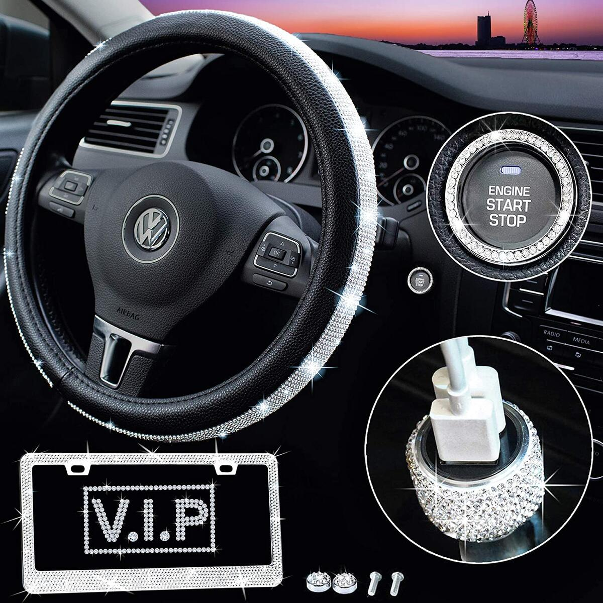Bling Car Accessories for Women - Diamond Bling Steering Wheel Cover for Women Girls Universal 15 Inch, Crystal Bling License Plate Frame, Car USB Charger, Rhinestone Car Decorations Set