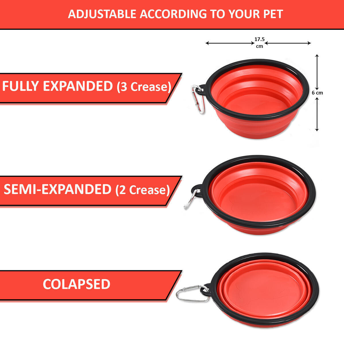 BUDDING Collapsible Dog Bowl for Travel – 34 oz (1000 ml) Water & Food Feeding Foldable Bowl – Best for Big, Medium & Small Size Dogs – Silicone Dog Dishes Food Bowl with Carabiner Clip (Red)